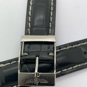 Breitling Alligator Buckle Leather Band 22-20mm